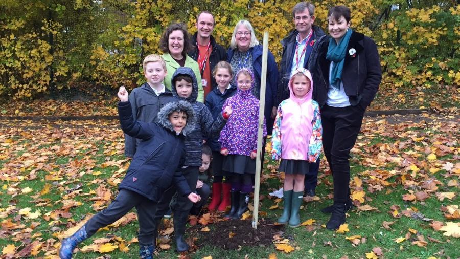 Caroline with children from Westdene Primary School