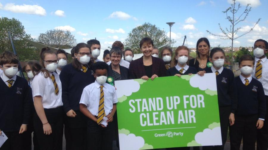 Caroline in Bristol with children and others to highlight concerns on air pollution
