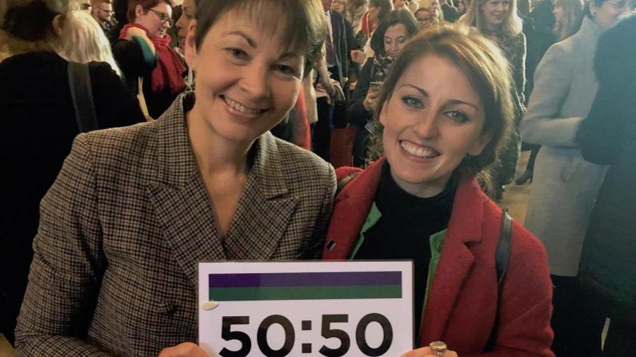 Caroline Lucas and Elaine Ortitz with 50:50 Parliament banner