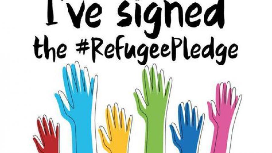 "Text says ""I've signed the #Refugee Pledge"""
